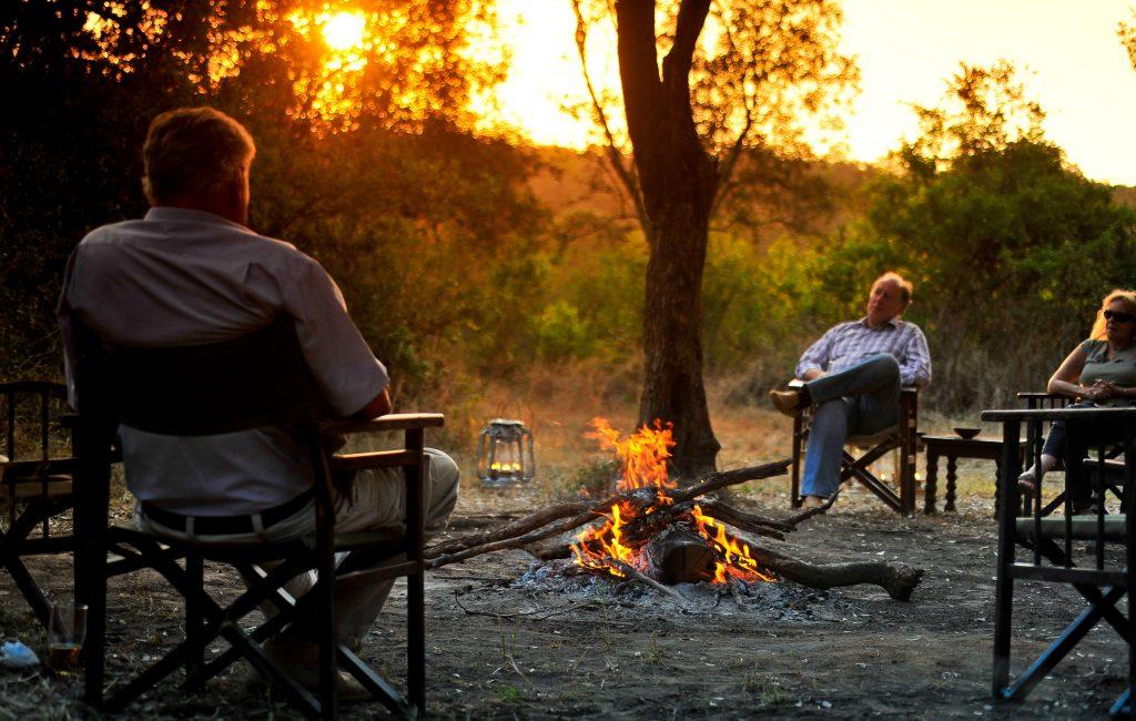 By the fire, Nairobi Tented Camp, Kenya