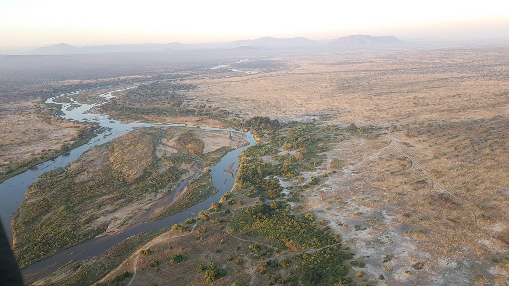 View over Ruaha National Park from hot air balloon