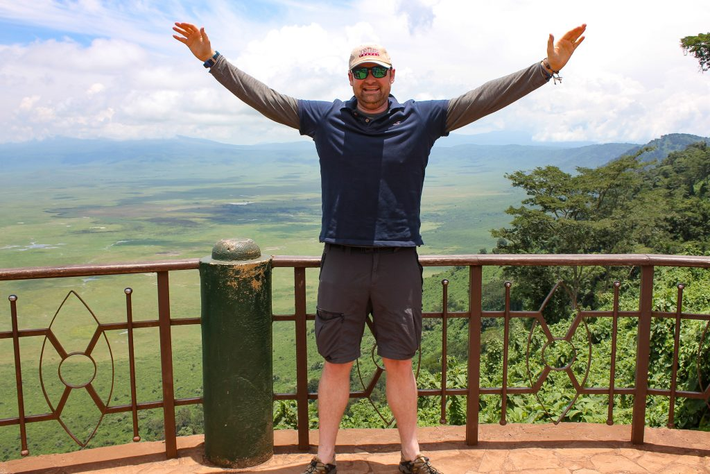 Dave at the Ngorongoro Crater lookout point, Tanzania