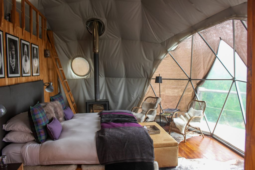 Dave's geodesic dome room at The Highlands, Ngorongoro Crater, Tanzania